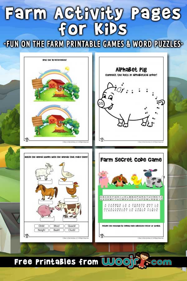 Farm Activity Pages for Kids