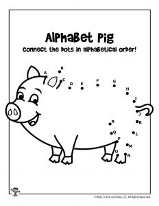 Farm Pig Alphabet Connect the Dots