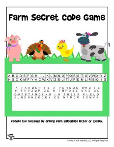 Farm Secret Code Game - ANSWER KEY