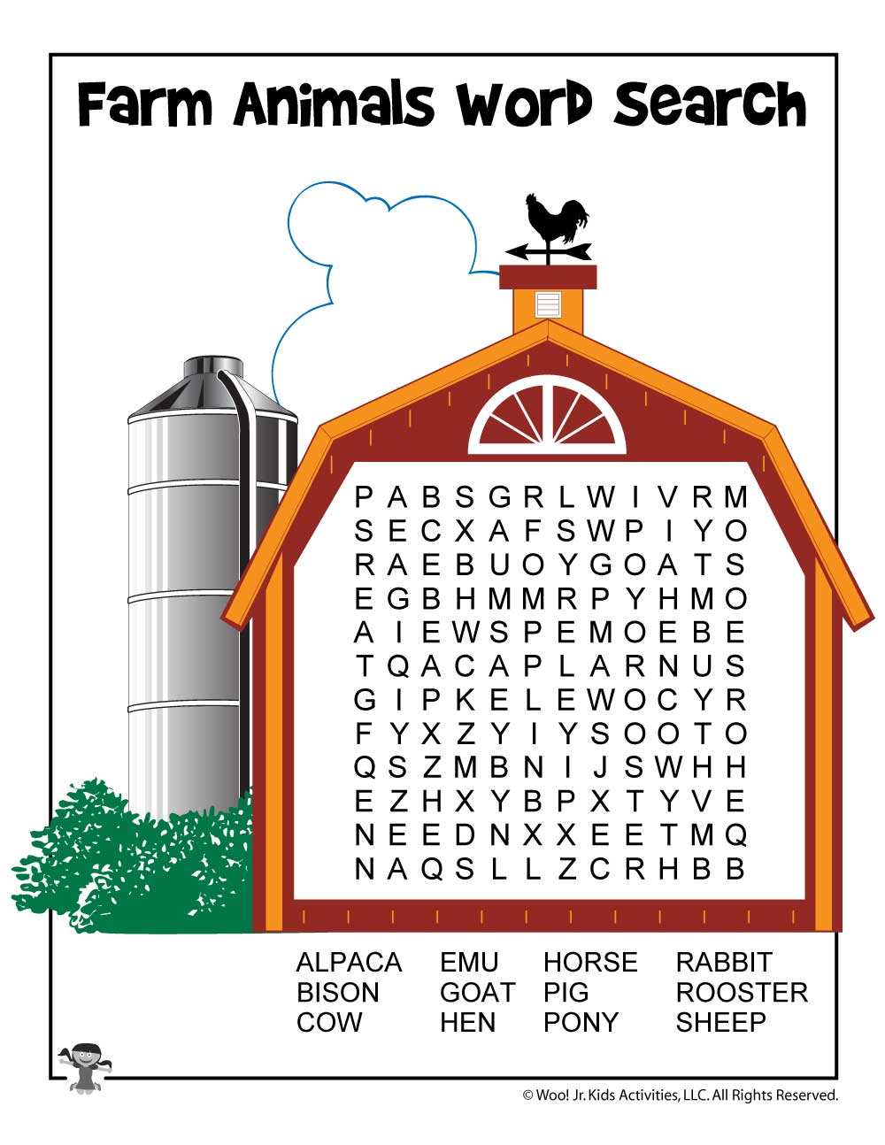 graphic regarding Animals Word Search Printable named Farm Animal Term Appear Printable Woo! Jr. Young children Things to do