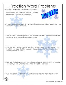 3rd Grade Fractions Math Worksheet