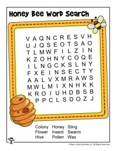 Honey Bee Word Search Activity Page