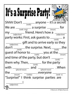 It's a Surprise Party Mad Lib