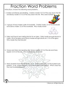 January Fractions Word Problems Worksheet