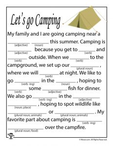 Let's Go Camping Mad Lib for Kids