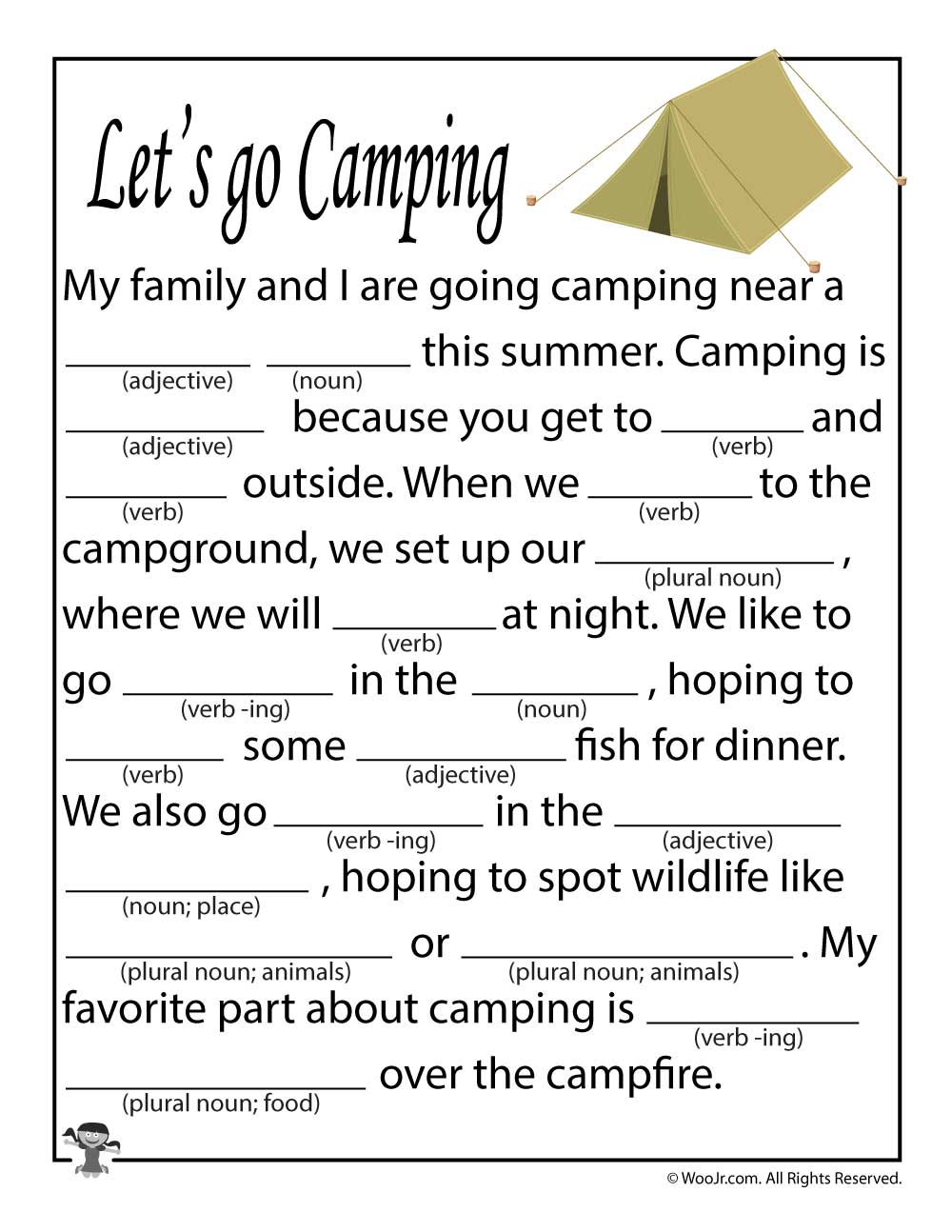 photo about Camping Mad Libs Printable identify Will allow Move Tenting Insane Lib for Young children Woo! Jr. Little ones Actions