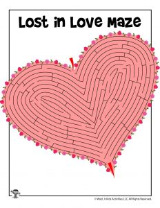 Valentine's Day Printable Maze for Kids