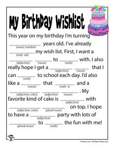 Birthday Wishlist Printable Mad Libs