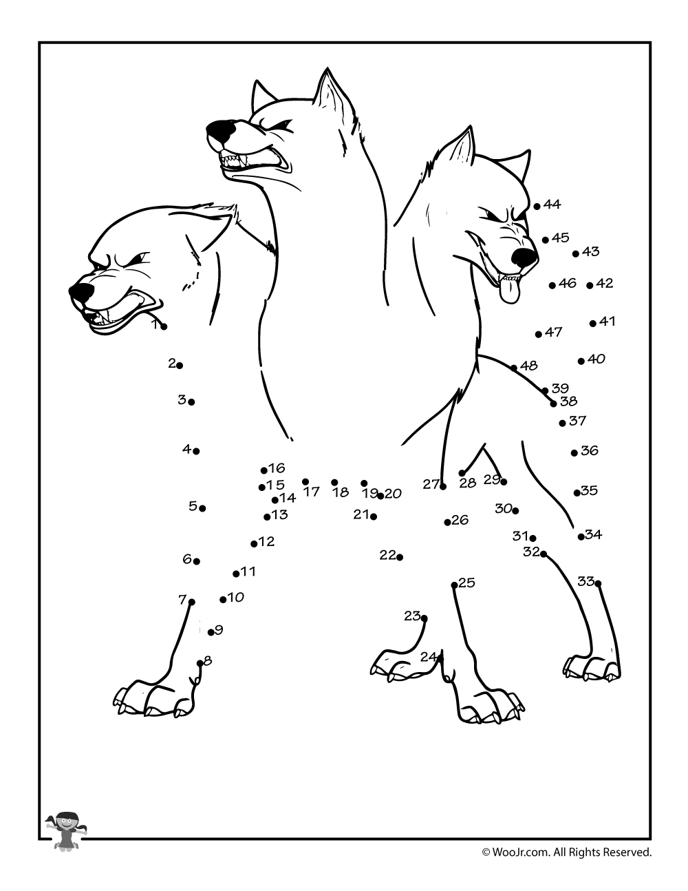 Cerberus 3 headed dog greek mythology connect the dots worksheet woo jr kids activities