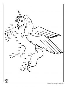 Unicorn Dot to Dots Printable Activity