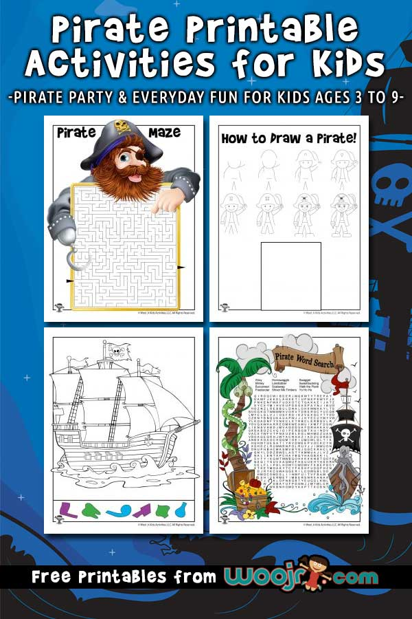 graphic relating to Pirates Printable Schedule known as Pirate Printable Pursuits for Children Woo! Jr. Small children Functions