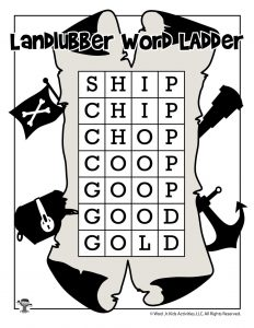 Pirate Word Ladder Game - ANSWER KEY