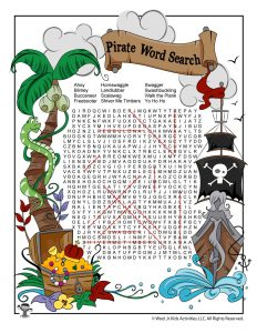 Pirate Word Search - ANSWER KEY