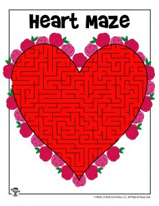 Red Heart Maze for Kids