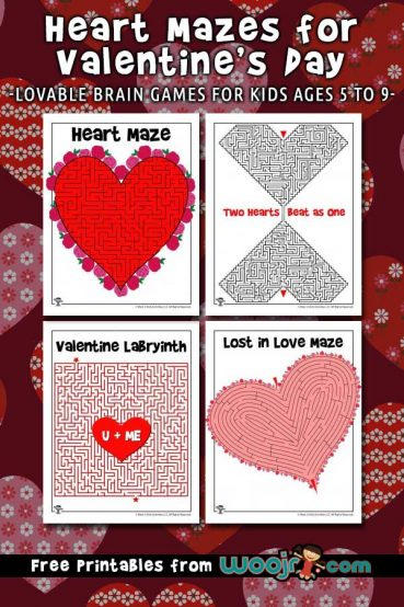 Heart Mazes for Valentine's Day