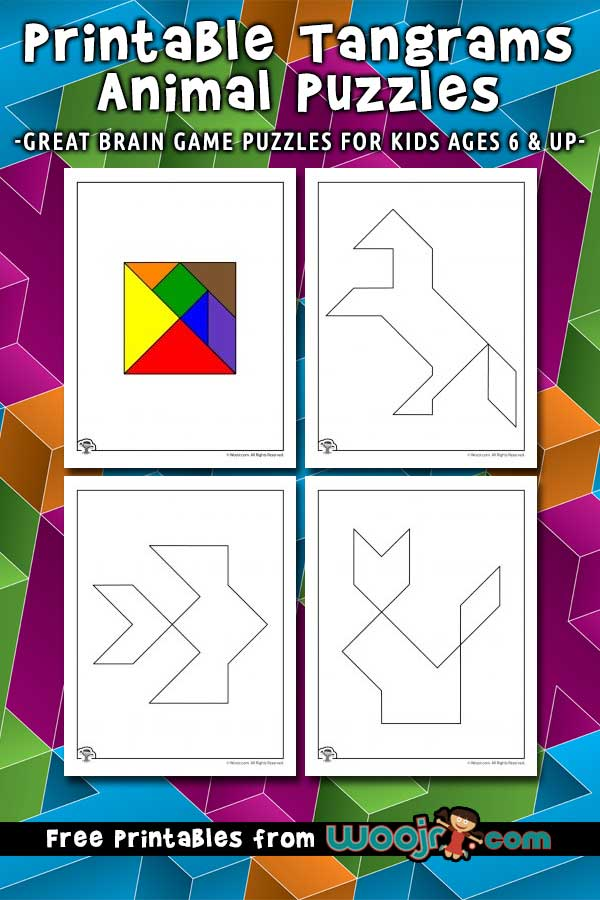 image relating to Animal Printable identified as Printable Tangrams Animal Puzzles Woo! Jr. Little ones Functions