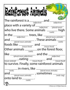 Rainforest Animals Madlibs