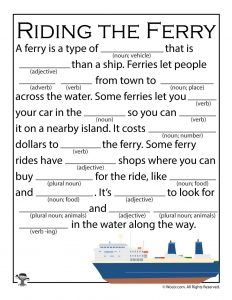 Riding the Ferry Fill in the Blank Mad Libs