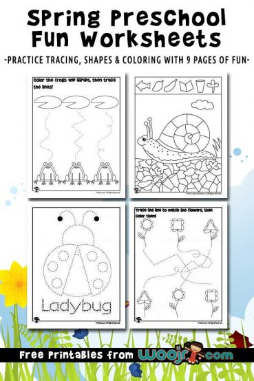 Spring Preschool Worksheets for Shape Recognition & Tracing Practice