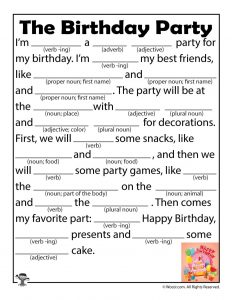 Birthday Party Mad Libs