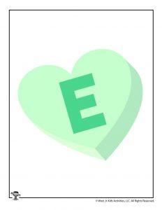 Conversation Heart Letter E