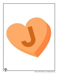 Conversation Heart Letter J