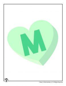 Conversation Heart Letter M