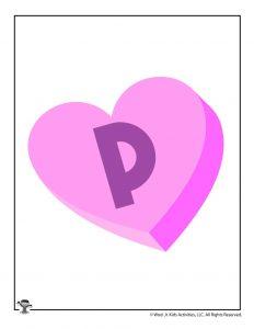 Conversation Heart Letter P