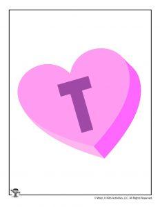 Conversation Heart Letter T