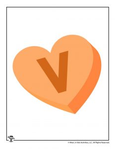 Conversation Heart Letter V