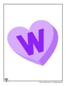 Conversation Heart Letter W
