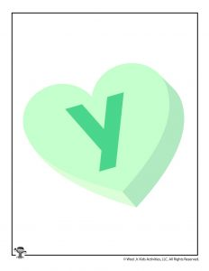 Conversation Heart Letter Y