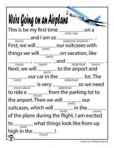 We're Going on an Airplane Mad Lib to Print