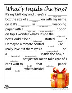 This is a graphic of Enterprising Happy Birthday Mad Libs Printable