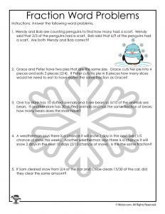 Winter Themed Fractions Lesson Worksheet