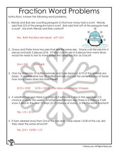 Winter Themed Fractions Lesson Worksheet - ANSWER KEY