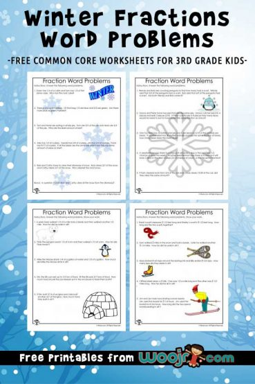 Winter Fractions Word Problems Worksheets for 3rd Grade