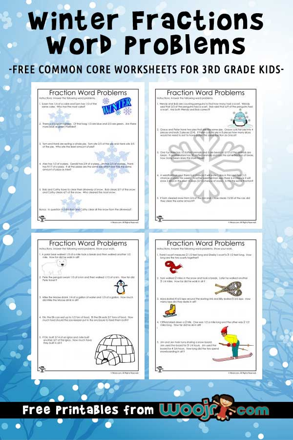 Winter Fractions Word Problems Worksheets For 3rd Grade Woo! Jr. Kids  Activities