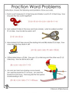Winter Math Worksheet 3rd Grade - ANSWER KEY