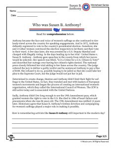 19th Amendment Reading Comprehension Worksheet