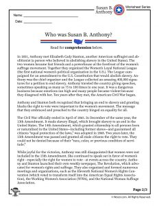 Who Was Susan B Anthony Reading Worksheet