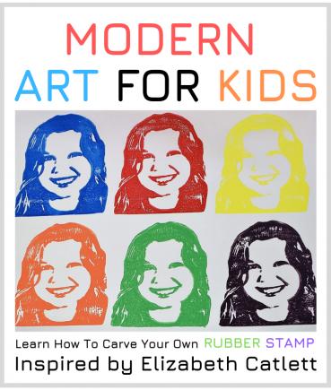 Kids Rubber Stamp Art Inspired By Elizabeth Catlett