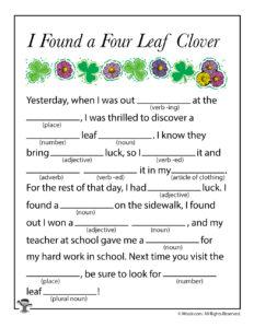 Four Leaf Clover Printable Ad Lib