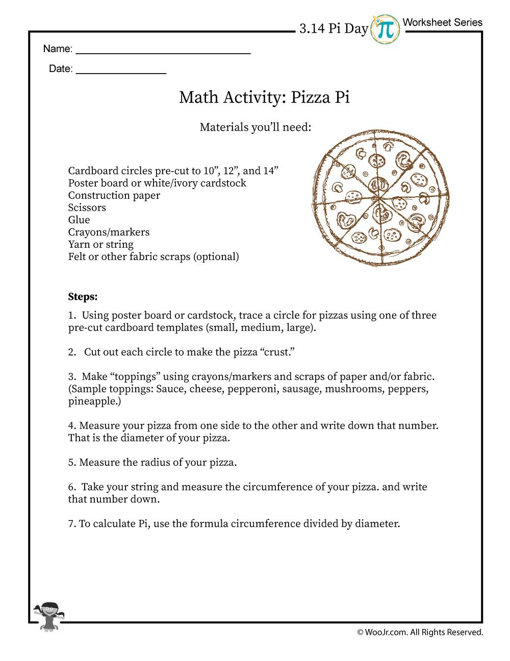Pizza Pi Math Activity Instructions Woo Jr Kids Activities
