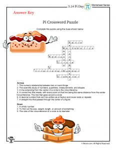 Pi Day Crossword Puzzle - ANSWER KEY