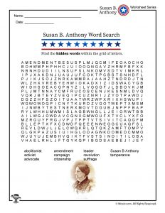 Susan B. Anthony Vocabulary Word Search