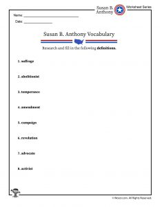 Susan B. Anthony Vocabulary Words Worksheet