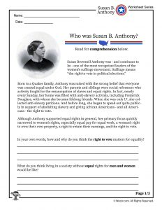 Who Was Susan B Anthony Printable Worksheet