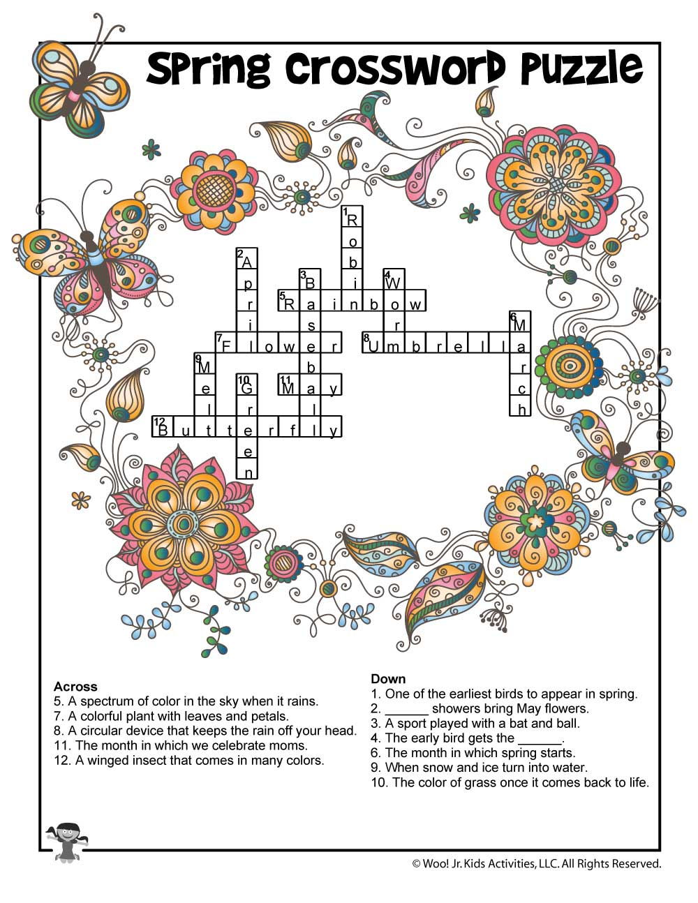 graphic relating to Spring Crossword Puzzle Printable named Spring Crossword Puzzle for Small children - Remedy Most important Woo! Jr