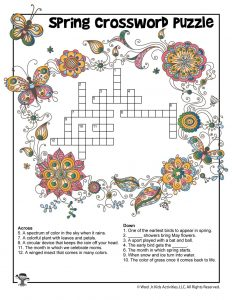Spring Crossword Puzzle for Kids